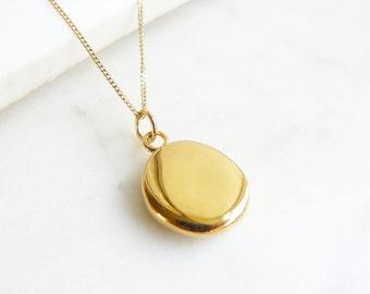 Simple Gold Pendant Necklace, Gold Vermeil Nugget Necklace, Minimalist Pendant