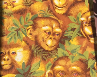 Vintage Monkey Fabric Piece 70's Chimp, Ape in Jungle Retro Novelty Print for Home Décor, Sewing, Crafts, Pillows, Tote Bags or Project