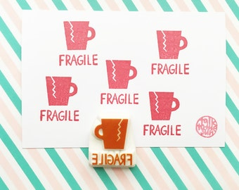 fragile rubber stamp, broken cup hand carved rubber stamp, snail mail stamp, packaging stamp, shipping stamp, office stationery