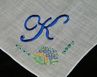 "Vintage Something ""Blue"" on White Monogrammed Monogram ""K""  Ladies Brides Wedding Handkerchief - 9852"