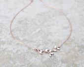 Bridesmaid necklace, Rose gold necklace, Wedding jewelry, Bridal necklace, Crystal necklace, Leaf necklace, Layering necklace, Simple
