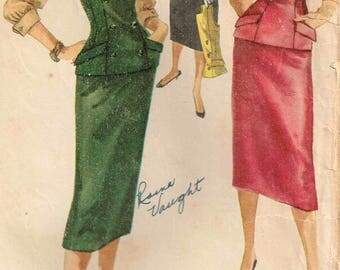 Sleeveless Top, Blouse with Bow and Sheath Slim Skirt Vintage 1950s Sewing Pattern Simplicity 1306  Misses Size 13 Bust 31 Cut and Complete