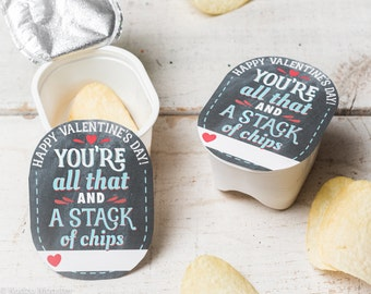 INSTANT DOWNLOAD printable chips pringles valentines You're all that and a stack of chips for snack size chips chalkboard texture background