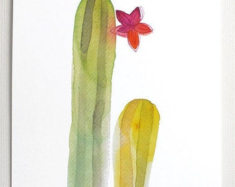 Blooming cactus watercolor print, Cactus poster, Cactus illustration, Cactus painting, Cactus plant, Botanical nature art, Cactus lover gift