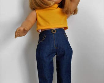 """SewQT jeans and yellow knit crop top fit 18"""" dolls like American Girl"""