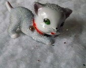 Vintage Blue Sugar Cat Ceramic Figurine Japan