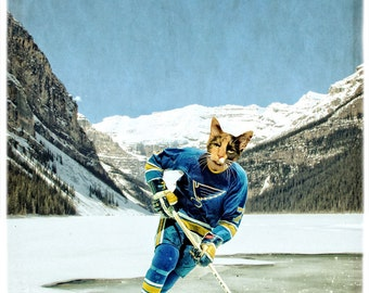 St Louis Blues Cat Print Cat Art Lake Louise Hockey Saint Louis Blues Gifts Gift For Him NHL Sports Print - St. Meowis Blues