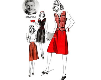 """1940s Hollywood Pattern 952 Pleated Skirt and Waistcoat, Bust 34, Claire Trevor star of """"Stagecoach"""", """"Key Largo"""", Vintage Sewing Pattern"""