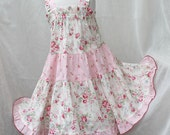 Pink Rose Girl's Easter Dress Girl Clothes Floral Ruffled Girls Dress Tiered Twirl Dress Cotton Party Dress Size 2t 3t 4t 5 6 7 8 10 12 14