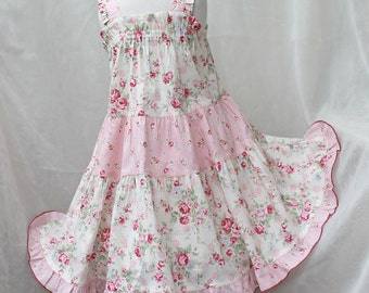 Floral Ruffled Girls Dress Size 2t 3t 4t 5 6 7 8 10 12 14 Cotton Girls Summer Dress Rose Big Girl Clothes Girl Pink Dress Tiered Twirl Dress