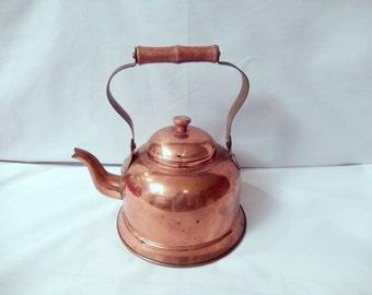 vintage copper kettle, small decorative kettle, wood handle, nice patina, kitchen decor, vintage kitchen, cottage kitchen