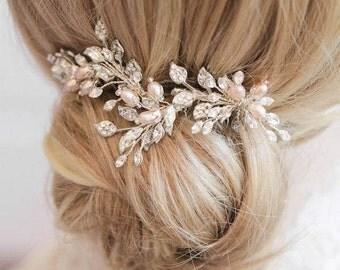 OPHELIA | silver blush hair comb, crystal bridal comb, rhinestone bridal hair comb