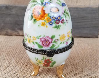 Vintage porcelain egg trinket box jewelry box hinged floral glazed