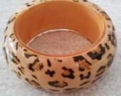 Vintage Bangle - Chunky Leopard