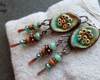 Boho Chic Tribal Gypsy Dangle Teal and Tan Ceramic Earrings, Bumpy Teal and Tan Charms Wood Czech Glass and Copper Earrings