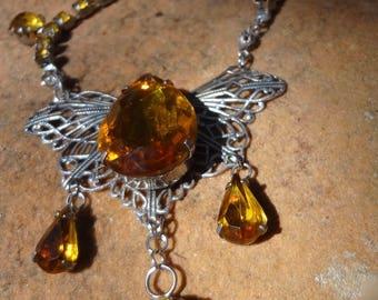 Vintage Altered Amber Glass Necklace