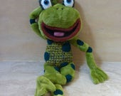 Reserved for Tracy, Frog, green  plush crocheted stuffed toy