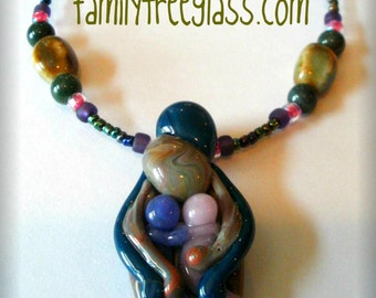 Glass Pendant Family of 4 Necklace Jewelry with Mother Father 2 Siblings Kids Brother Sister or Twins Handblown in Custom Colors