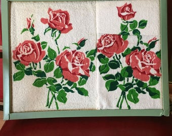 Vintage NOS Penneys Bathroom Terry Bath Towel Set, 3 Pieces with Pink Rosees