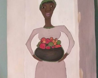 African woman art ,Afrikaans bag,african American art,black woman painting,  black woman painting,black woman art,fruit  basket,afrikkan