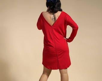 "Tunic naked back, tunic red, dress naked back, red dress, red tunic "" AkA """
