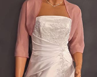Chiffon bolero jacket 3/4 sleeve shrug wedding wrap bridal cover up CBA201 AVAILABLE IN rose pink and 6 other colors. Small - Plus size!