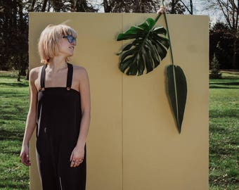 Jumpsuit in black washed silk, Overall black romper, baggy jumpsuit handmade