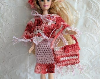 "Cute Skirt, Poncho Top, Hat and Purse in Pink & Red fits 6"" Mini Dawn Fashion Dolls  #19"