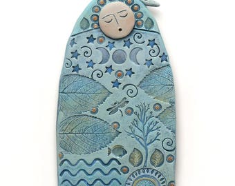 Ceramic goddess, wall art, handmade sculpture