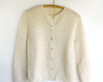 Vintage Mohair Sweater Cardigan Ladies Cream Button Front Alberic Brand Mid Century Fashion