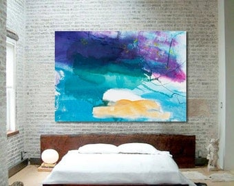 "Extra Large Expressive Abstract Art, Stained Canvas, blue, purple, orange, green 54 x 80"" ""Summer Night Wind"" modern nightscape painting"