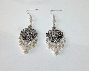 SALE   Bridal Earrings / Wedding Jewelry / Sterling silver Chandelier Swarovski Crystal and Pearl Earrings / Long earrings /