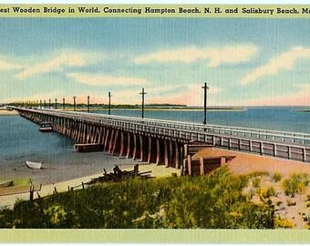 Vintage New Hampshire Postcard - The Hampton River Bridge (Unused)