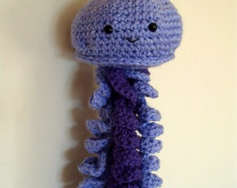 Crochet Jellyfish Plushie Jellyfish Toy Amigurumi Purple Hanging Jellyfish Stuffed Soft Cuddly Tentacles Squishy