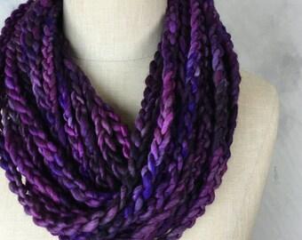 Purple Velvet Loop Scarf (Shades of Purple Merino Wool)