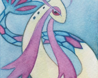 Original Art - Pokemon Watercolor - ACEO / ATC - Milotic - Water Pokemon Painting. Custom Video Game Art. Nintendo Switch. Pokemon Go. 3DS.