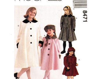 Girls Flared Coat & Hat Pattern McCalls 8471 Dressy Button Front Lined Coat Round Collar Long Jacket Size 2 3 4 or 4 5 6 UNCUT