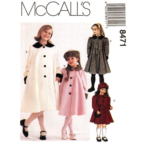 Girls Dressy Flared Coat, Hat Pattern McCalls 8471 Buttoned Lined Round Collar Size 2 3 4 or 4 5 6