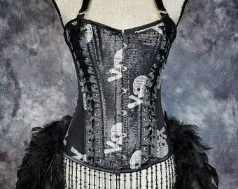 SKULL & BONES Costume for Day of the Dead black feather skeleton burlesque corset dress
