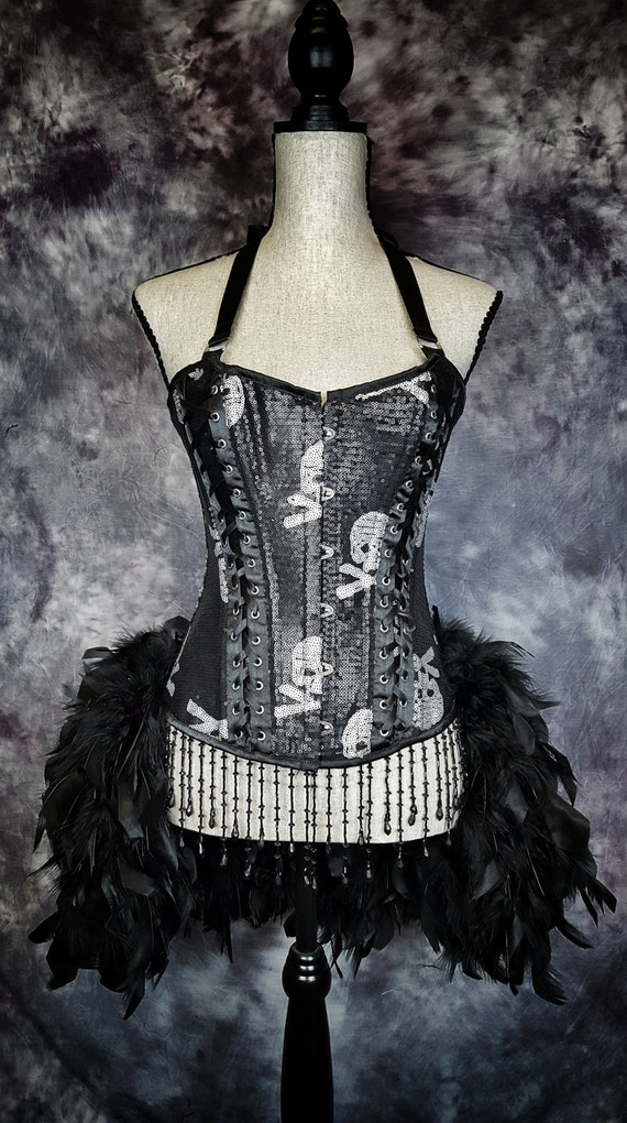 SKULL STEAMPUNK Costume black sequins feather burlesque gothic corset dress - Medium