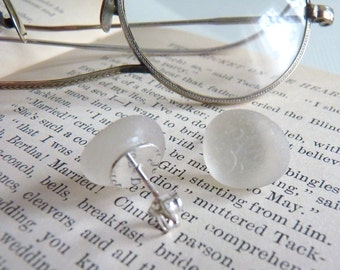 Sea Glass Stud Earrings - Genuine English Sea Glass - Sterling Posts - WHITE ICE