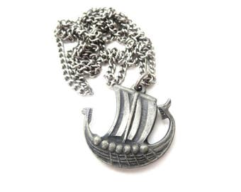 Vintage Unmarked Scandinavian Silver Tone Pewter Metal Dragon or Serpent Viking Ship / Sailing Ship Pendant Necklace