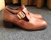 Vintage Leather Pumps Chunky Heel T Strap Cognac Camel US 7,5 EU 38, UK 5,5