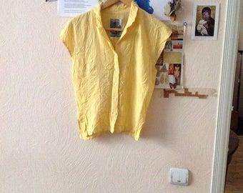 Vintage Cap Sleeve Blouse Yellow Button Up Short Sleeve Lapel Neck M Medium