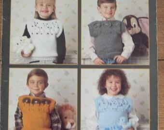 vintage 1988 Knitting pattern cute Animal Vests for children - lion, lamb, mouse, bird  sz 2-8