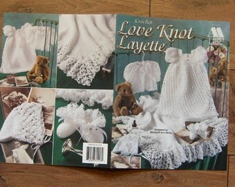 1998 crochet pattern Baby LOVE KNOT LAYETTE