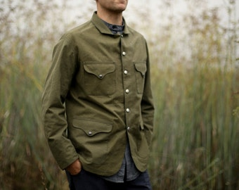 Green Cotton Canvas Work Wear Jacket - based on civil war era work jacket