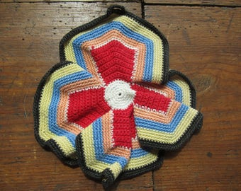 Crochet Potholder. Multi-Colored, Handmade, Kitchen decoration