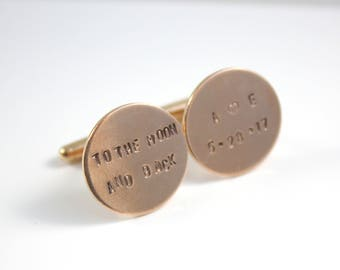 Rose Gold - Personalized Cuff Links Cufflinks - To The Moon And Back - Groom Cuff Links - Wedding Cuff Links - Gift For Groom - Father