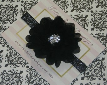 Black Flower Headband, Baby Headband, Black Glitter Headband, Flower Girl Headband Bridesmaid Headband, Toddler Headband, Holiday Headband